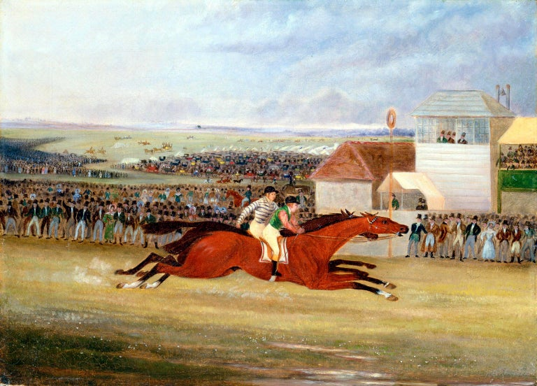 James Pollard Animal Painting - The finish of the race - Great St. Leger Stakes at Doncaster
