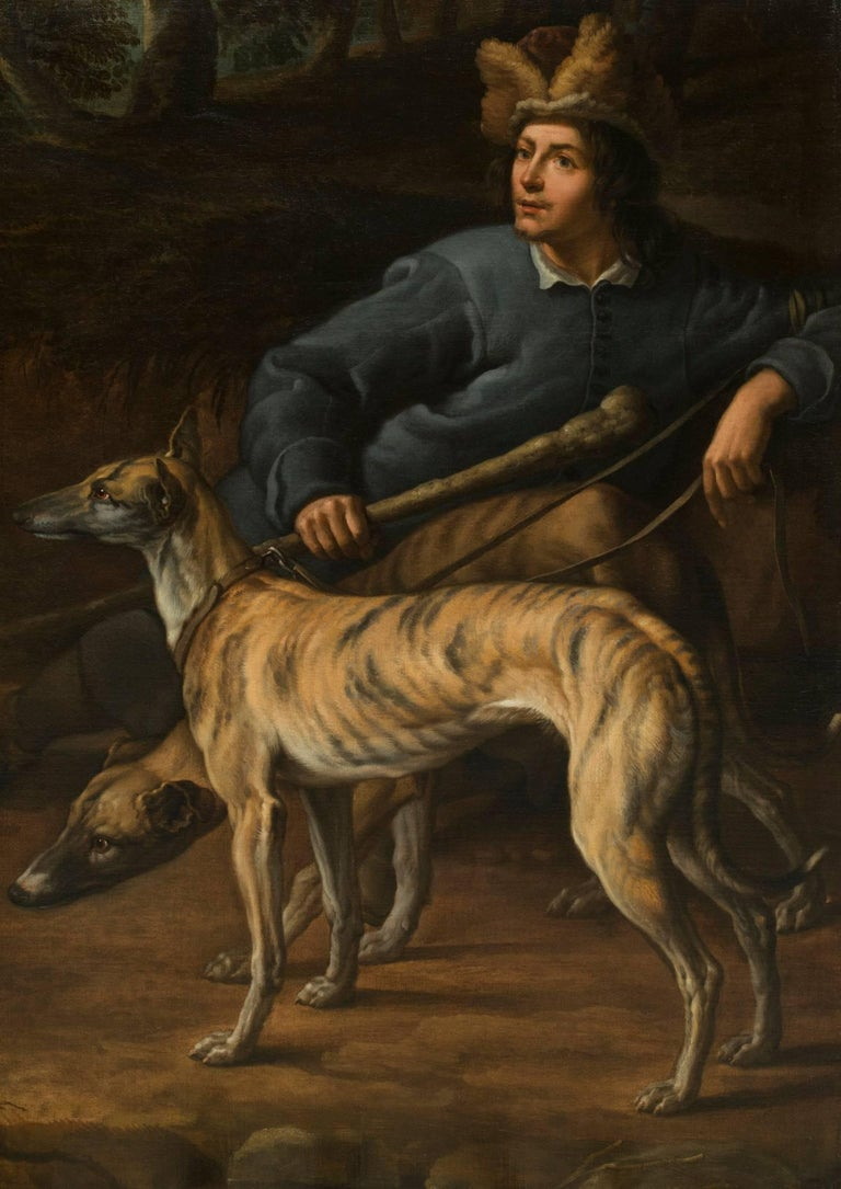 Flemish School Animal Painting - A portrait of a huntsman resting with his dogs