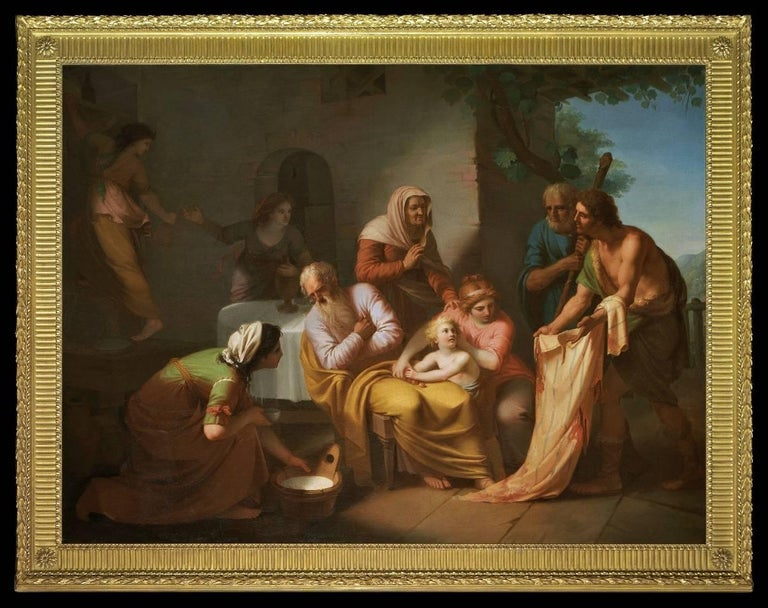 Marcello Leopardi Figurative Painting - Joseph's coat of many colours is shown to his father Jacob (Genesis, ch. 37)