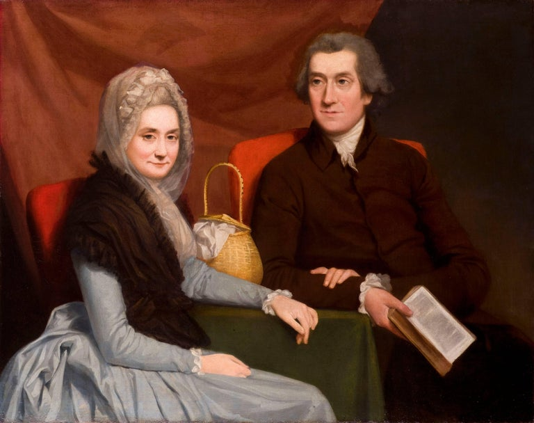 Gilbert Stuart Portrait Painting - Portrait of a Gentleman and lady at a table