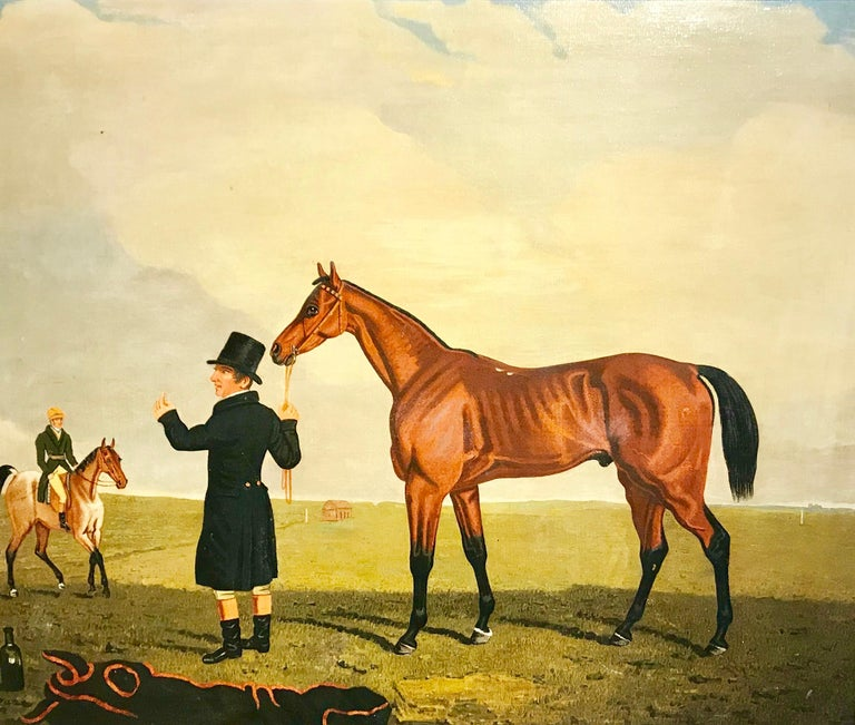 Lambert Marshall (1810-1870) COLONEL J PEEL'S 'ARCHIBALD' WITH TRAINER AND JOCKEY, A PAVIS, RIDING A ROAN HACK Oil on canvas 51 x 61cm  'Archibald', a bay colt by Paulowitz out of Garcia, foaled in 1829, won the Sweepstakes at Ascot and Cockboat