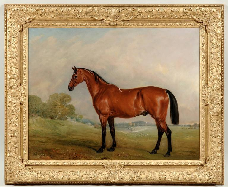 John Ferneley Senior Animal Painting - A bay thoroughbred horse in a landscape