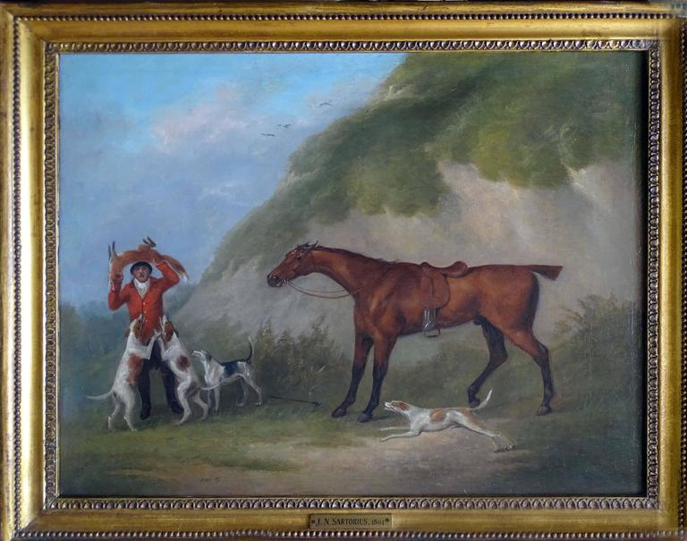 John Nost Sartorius 1759-1828 A set of 4 hunting scenes, with horses, hounds in landscapes Signed Oil painting on canvas 35.6 x 45.7 cm 14 x 18 in