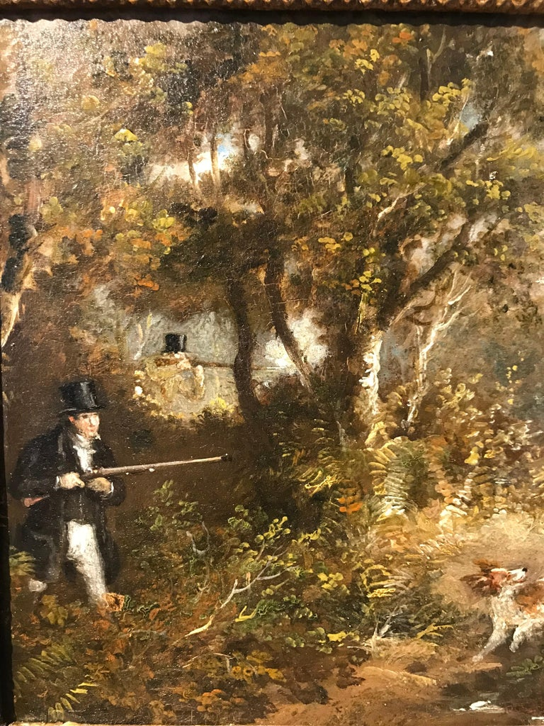 A Man and his dogs shooting by Alken - Brown Animal Painting by Samuel Henry Alken