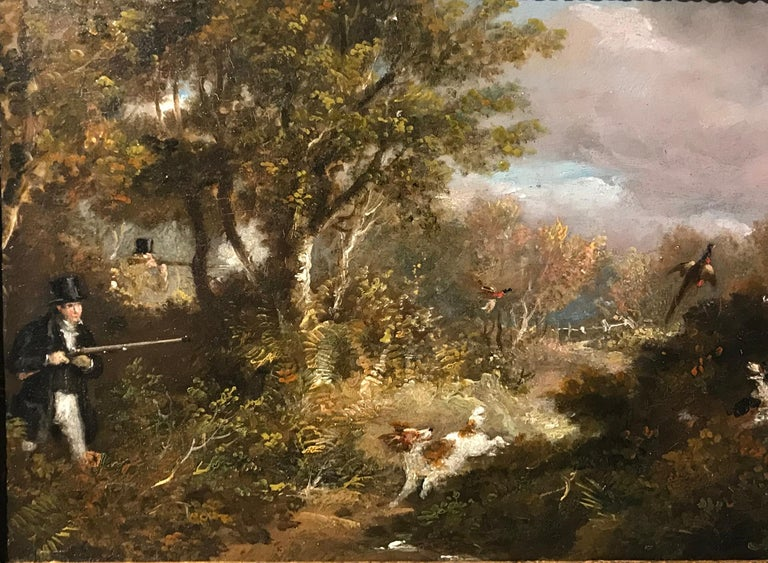 Samuel Henry Alken Animal Painting - A Man and his dogs shooting by Alken