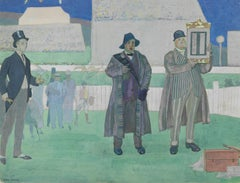 Paying the race winners at the Derby, Epsom by John Copley