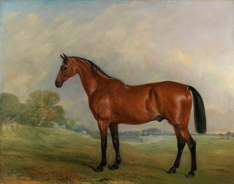 """A bay thoroughbred in a landscape   Oil painting on unlined canvas 34 x 42 inches in its original antique giltwood frame. Signed, """"J. Ferneley"""" inscribed """"Melton Mowbray"""" and dated 1842 Provenance: Commissioned in 1842 by William Everard of"""