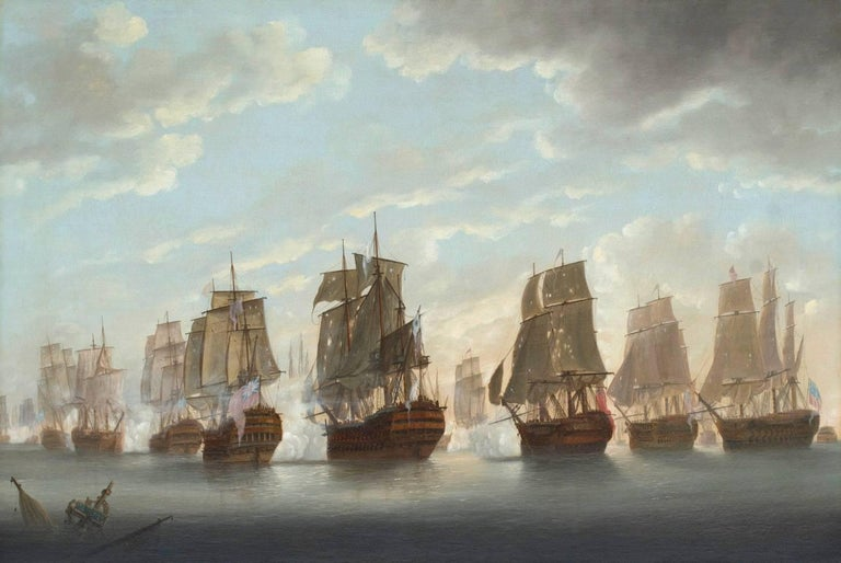 """The Battle of the Saints, 9th - 12th April 1782. Rodney in the """"Formidable"""" close to Windward of the """"Ville de Paris""""; breaking the French line: a pair of paintings  A pair of oil paintings on canvas each 24 x 36 inches (61 x 94 cm.) in their"""