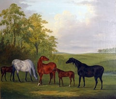 Mares and foals in a landscape by Sartorius