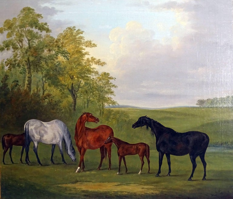 John Nost Sartorius (1759-1828) Mares and Foals Oil on canvas 25 x 30 in In a carved gilt frame
