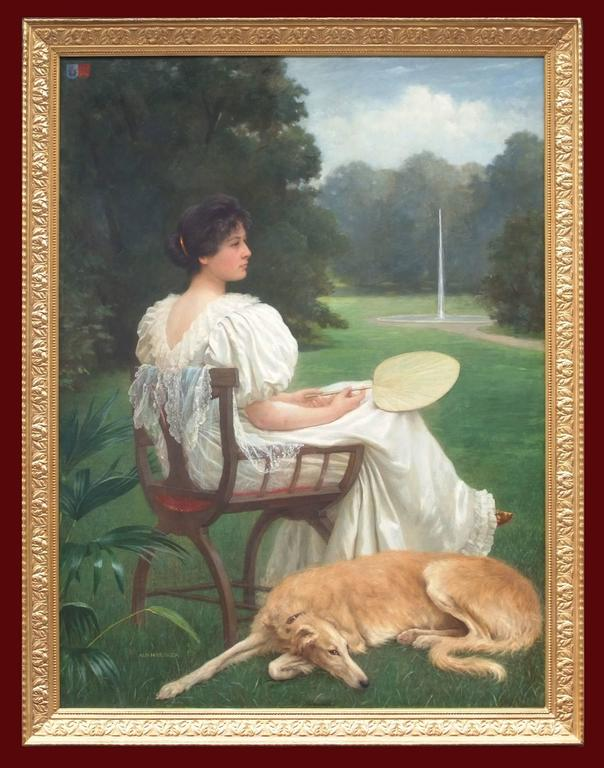 Painting 19th Century Portrait Woman and Dog in the Garden