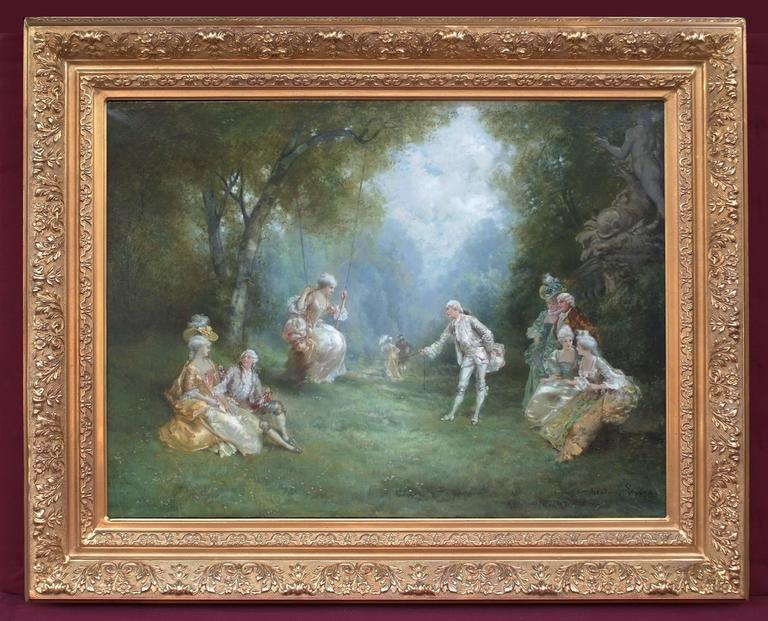 Theodore Levigne Figurative Painting - Oil Painting Genre Scene 18th Century