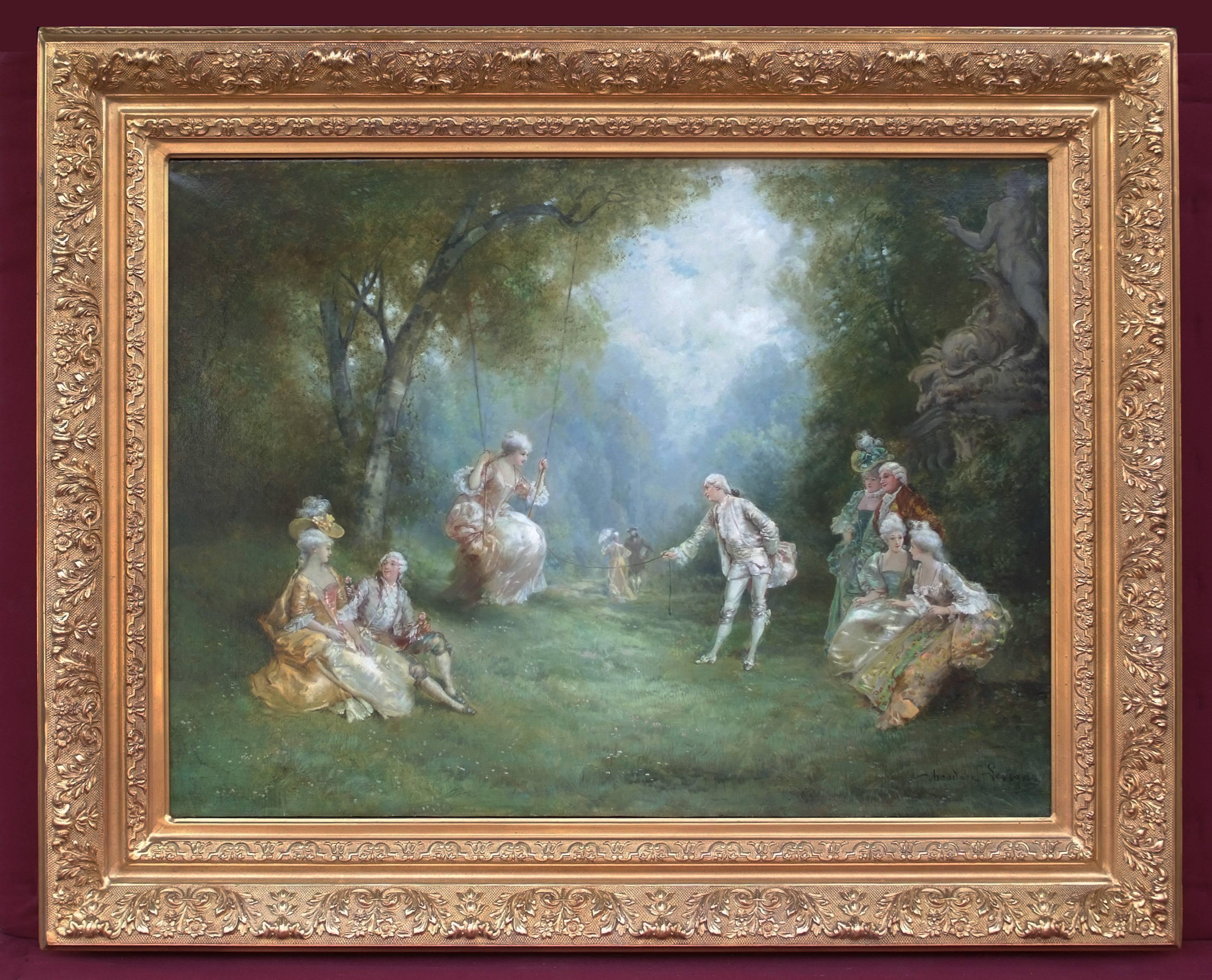 Oil Painting Genre Scene 18th Century
