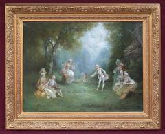 Oil Painting Genre Scene 18th Century