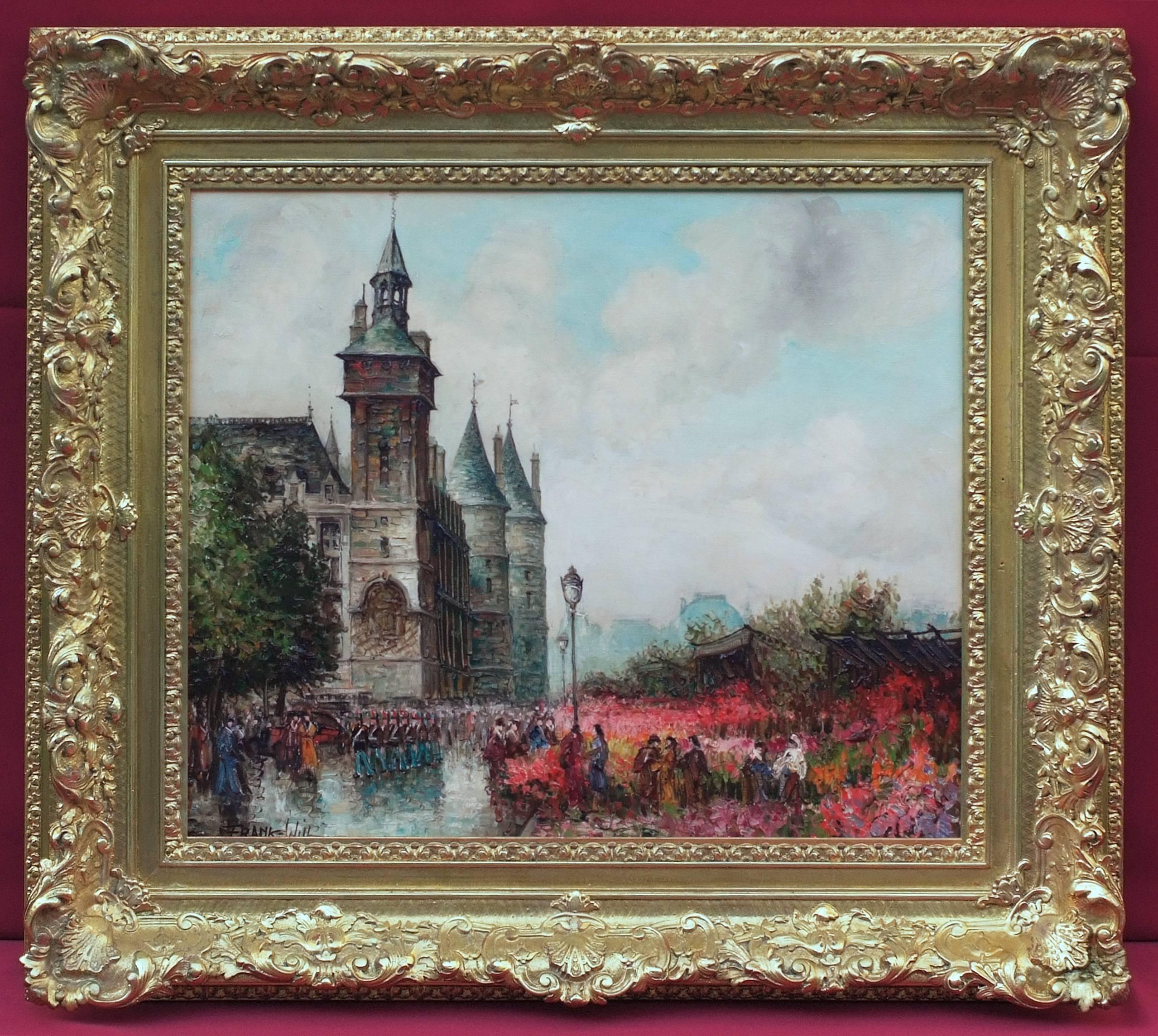 Painting 20th Century Impressionist Paris Banks, La Seine, Flowers Market