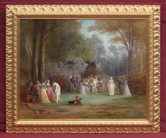 """Painting 19th Century """"Celebration In The Park Of The Castle"""""""
