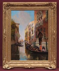 Painting 19th Century Venice, Canal, Characters