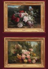 Flowers in landscapes in pair