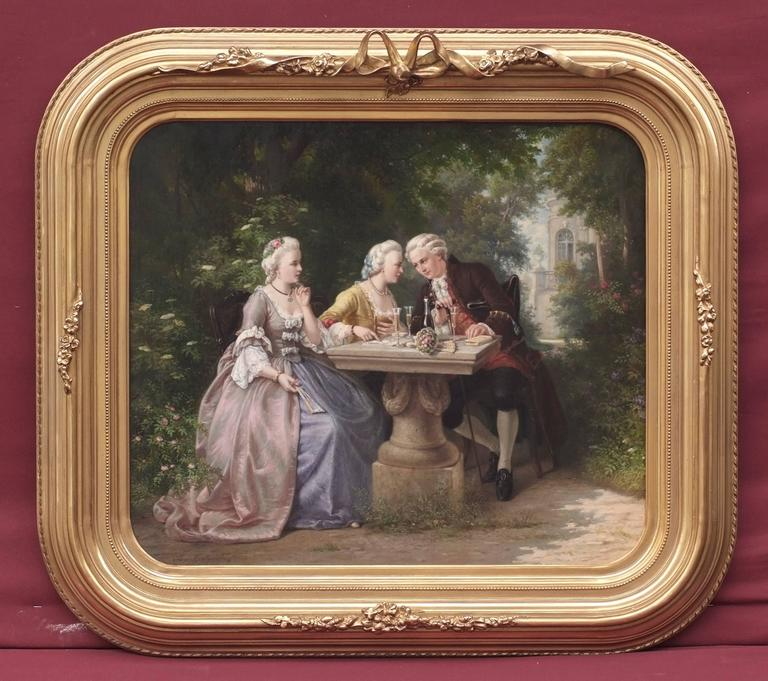 Painting 19th Century Genre Scene Portraits Cards Game Aristocracy 18th Century