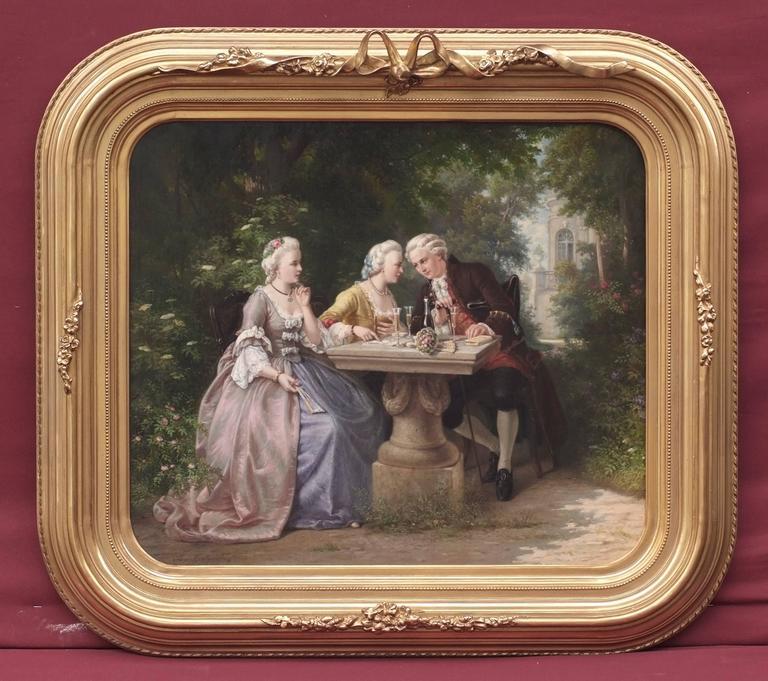 KRATZ Benjamin (1829-1869) Figurative Painting - Painting 19th Century Genre Scene Portraits Cards Game Aristocracy 18th Century