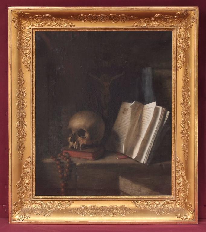 Painting 18th Century Vanitas Still Life Skull Religion Esotericism Occult
