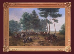 Painting 19th Century Fox Hunting Scene With Characters Horses and Dogs