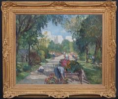 Painting Early 20th Century Landscape Garden and Characters
