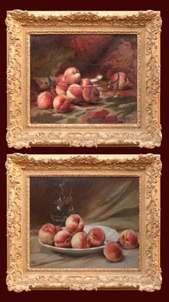 Paintings 19th Century Still Life Fruits Crystal and Porcelain