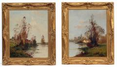 Painting 19th Century Landscape French Countryside Barbizon School