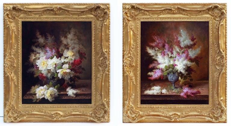 Raoul Maucherat de Longpré Still-Life Painting - Painting 19th Century Flowers
