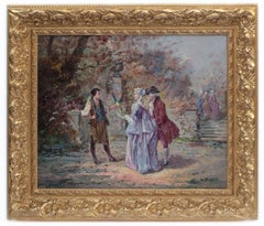 Painting 19th Century Showing Bird Catcher and Aristocracy in the 18th Century