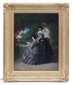 Painting 19th Century Landscape and Portrait Women