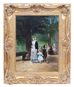 Painting 19th Century Genre Scene Chidren and Nurse in The Park