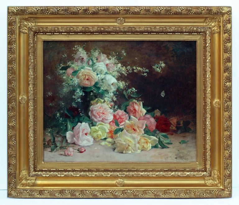 Louis Adolphe Tessier Still-Life Painting - Painting 19th Century Flowers