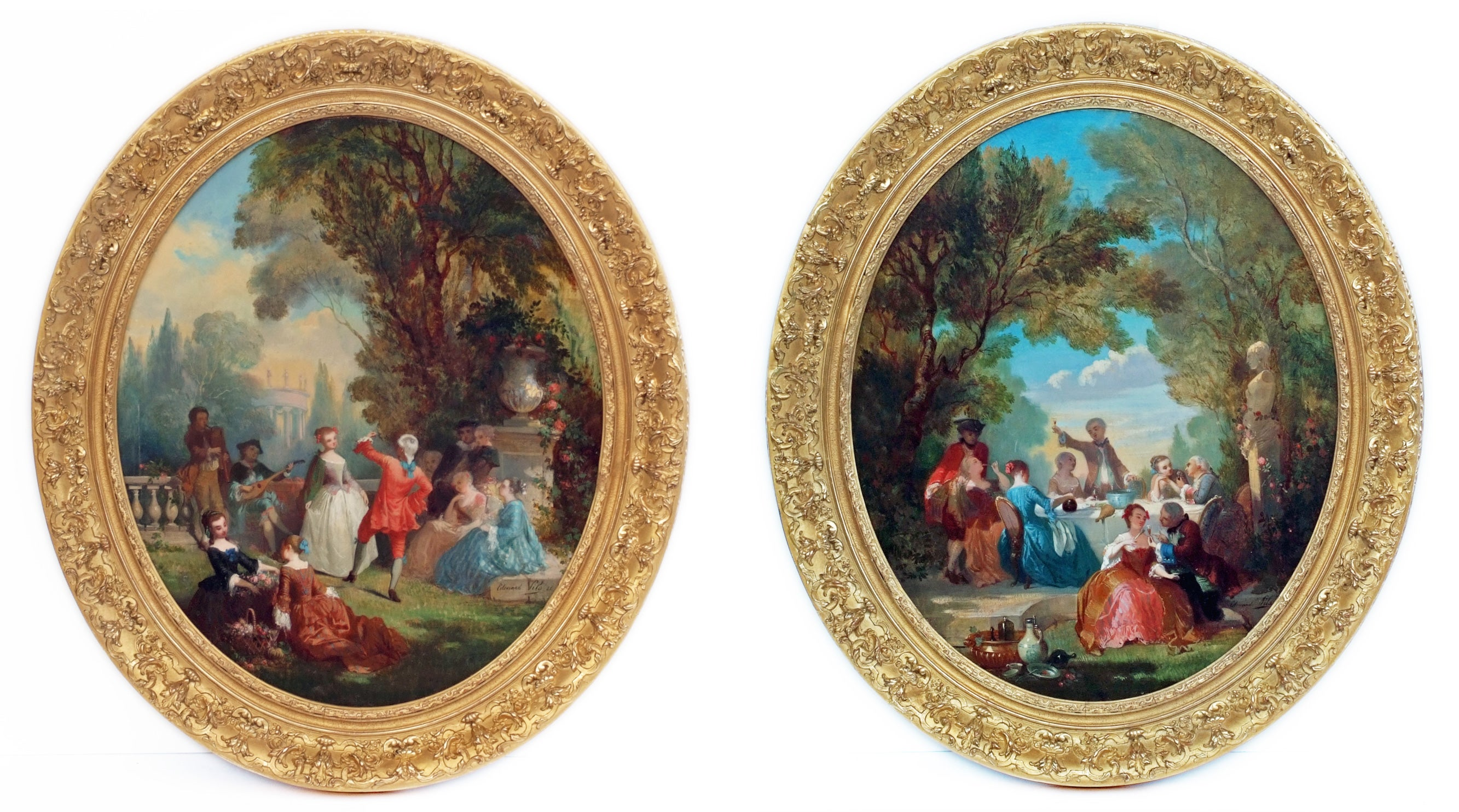Painting 19th Century Genre Scenes showing 18th Century Period