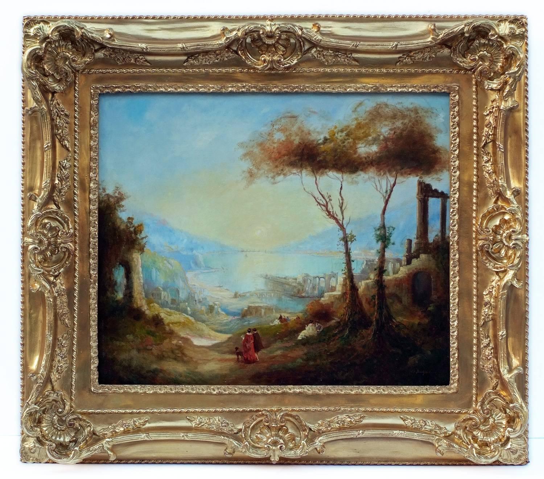 Painting 19th Century Landscape Antique Ruins