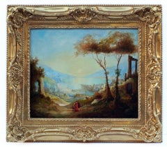 Painting 19th Century Landscape Antique Ruins