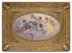 Painting 19th Century  Cherubs and Flowers