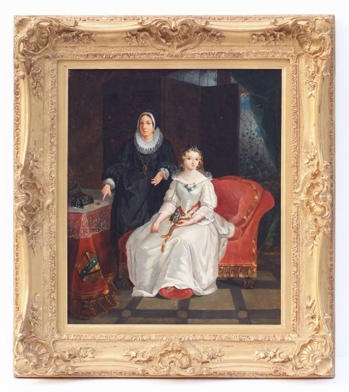 Painting 19th century  French School Genre Scene Interior Portrait