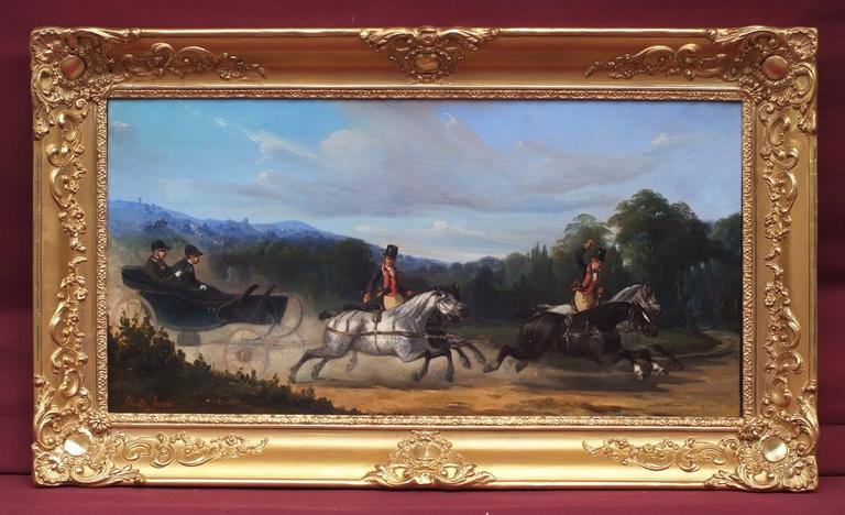 Painting 19th Century - Horses and Carriage - Charles de Luna (1812-1866)