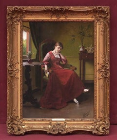 19th Century Painting  Portrait Lady Interior Scene