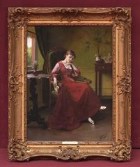 19th Century Painting  Portrait Lady Interior Scene