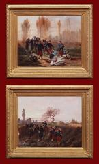 19th Century Painting  Battlefield Soldiers Militaria