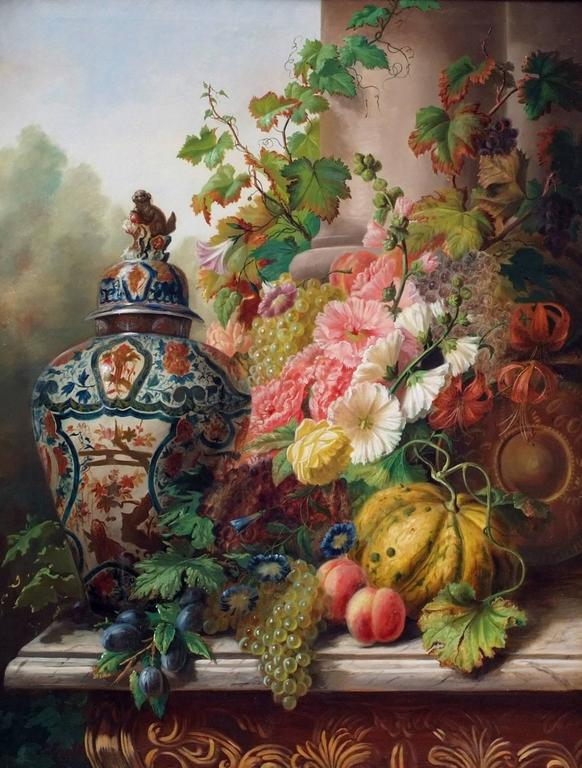 Unknown Painting 19th Century Still Life Flowers Fruits