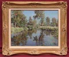 Painting 19th Century Landscape Waterscape River