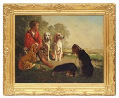 Painting 19th century Portrait Hunting Scene with Dogs