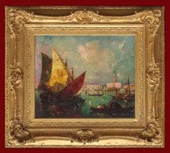 Painting 20th Century Venice Marine Boats