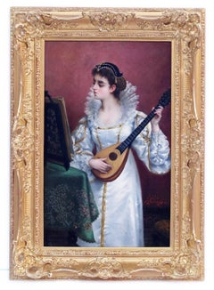 Old Master Painting 19th Century Music Portrait Interior Scene