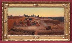 Painting 19th Century Landscape Orientalist Oasis Algeria