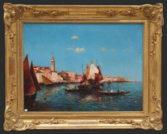 Painting early 20th Century Venice boats seascape